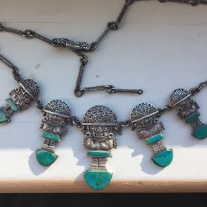 Jewelry - vintage silver and turquoise Incan necklace